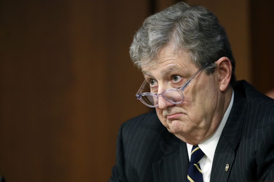 Sen. John Kennedy, R-La., listens to the answer to his question of Department of Justice Inspector General Michael Horowitz and FBI Director Christopher Wray during a hearing of the Senate Judiciary Committee to examine Horowitz's report of the FBI's Clinton email probe, on Capitol Hill, Monday, June 18, 2018, in Washington. (AP Photo/Alex Brandon) ** FILE **