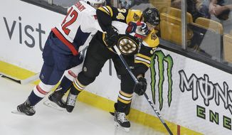 Washington Capitals' Martin Fehervary, left, of Slovakia, and Boston Bruins' Daniel Winnik, right, vie for control of the puck in the first period of an NHL preseason hockey game, Sunday, Sept. 16, 2018, in Boston. (AP Photo/Steven Senne) ** FILE **