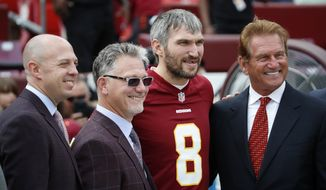 Washington Capitals' Alex Ovechkin, second from right, poses for a photo before an NFL football game between the Washington Redskins and the Indianapolis Colts, Sunday, Sept. 16, 2018, in Landover, Md. (AP Photo/Alex Brandon)