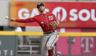 Washington Nationals shortstop Trea Turner throws out an Atlanta Braves batter in the ninth inning of a baseball game Sunday, Sept. 16, 2018. The Nationals defeated the Braves, 6-4. (AP Photo/Tami Chappell) ** FILE **