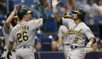 Oakland Athletics Khris Davis (2) celebrates his grand slam during the ninth inning of a baseball game against the Tampa Bay Rays Sunday, Sept. 16, 2018, in St. Petersburg, Fla. (AP Photo/Jason Behnken)