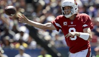 Arizona Cardinals quarterback Sam Bradford passes against the Los Angeles Rams during the first half of an NFL football game Sunday, Sept. 16, 2018, in Los Angeles. (AP Photo/Marcio Jose Sanchez)