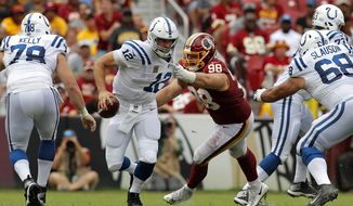 Washington Redskins defensive tackle Matthew Ioannidis (98) sacks Indianapolis Colts quarterback Andrew Luck in the first half of an NFL football game, Sunday, Sept. 16, 2018, in Landover, Md. (AP Photo/Carolyn Kaster)