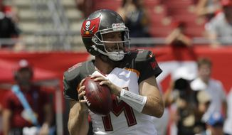 Tampa Bay Buccaneers quarterback Ryan Fitzpatrick (14) looks to pass,during the first half of an NFL football against the Philadelphia Eagles, Sunday, Sept. 16, 2018, in Tampa, Fla. (AP Photo/Chris O'Meara)