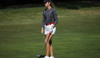 Rachel Heck of the U.S. walks on the fairway during the fourth round of the Evian Championship women's golf tournament in Evian, eastern France, Sunday, Sept. 16, 2018. (AP Photo/Francois Mori)