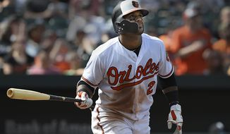 Baltimore Orioles' Jonathan Villar watches his solo home run against the Chicago White Sox in the fourth inning of a baseball game, Sunday, Sept. 16, 2018, in Baltimore. (AP Photo/Gail Burton)