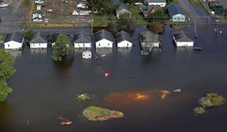 Floodwater threatened homes in Dillon, South Carolina. (Associated Press)