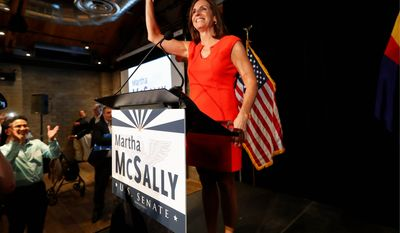 Rep. Martha McSally, Arizona Republican, will face off against Rep. Krysten Sinema in November.