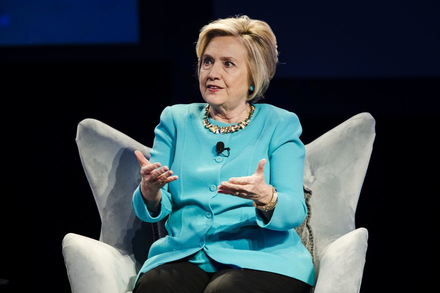 Hillary Clinton speaks at the Geisinger's National Healthcare Symposium in Danville, Pa., Thursday, Nov. 9, 2017. (AP Photo/Matt Rourke)