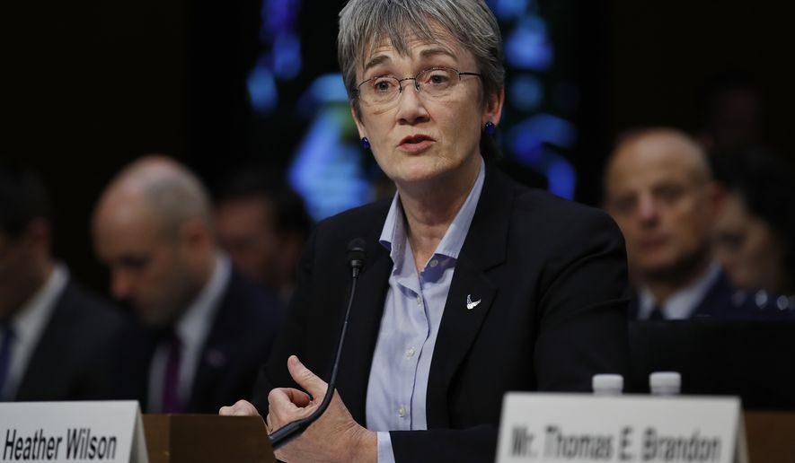 Air Force Secretary Heather Wilson proposes pushing ahead with the transition to a Space Force whose main focus would be competition with Russia and China. (Associated Press)
