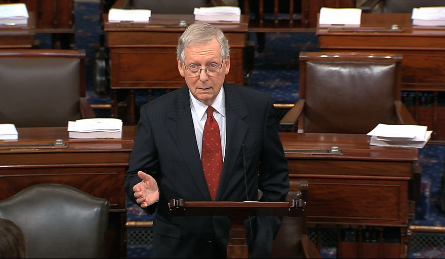 In this image from video, Senate Majority Leader Mitch McConnell of Ky., speaks on the flood of the U.S. Senate on Capitol Hill in Washington, Monday, Sept. 17, 2018. McConnell says Republicans will review the sexual assault allegation against Supreme Court nominee Brett Kavanaugh by the book with bipartisan interviews on the Judiciary Committee. (Senate Television via AP)