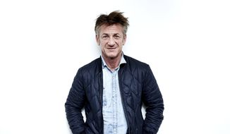 """Author-activist Sean Penn poses for a portrait in New York to promote his novel """"Bob Honey Who Just Do Stuff,"""" March 27, 2018. Mr. Penn says much of the spirit of what has been the #MeToo movement is to divide men and women. (Photo by Taylor Jewell/Invision/AP) ** FILE **"""
