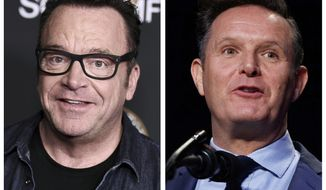 "In this combination of photos, Tom Arnold, left, attends a premiere on Oct. 10, 2017, in Los Angeles and Mark Burnett speaks during the National Prayer Breakfast on Feb. 2, 2017, in Washington. A scuffle between Arnold and Burnett a producer of ""The Apprentice"" has led to an exchange on social media. (AP Photos)"