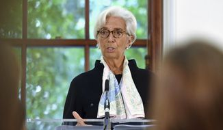International Monetary Fund (IMF) managing director Christine Lagarde speaks during a press conference to mark the publication of the 2018 Article IV assessment of the UK at the Treasury in central London, Monday Sept. 17, 2018. (John Stillwell/Pool via AP)