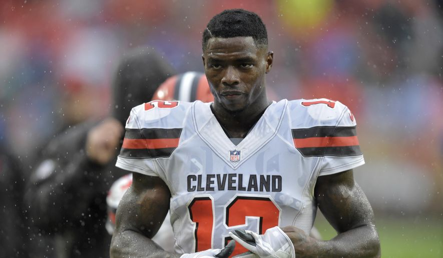 FILE - In this Sunday, Sept. 9, 2018, file photo, Cleveland Browns' Josh Gordon walks off the field after an NFL football game against the Pittsburgh Steelers in Cleveland. The Browns have traded problematic Gordon to the New England Patriots for a fifth-round draft pick. The deal came together Monday, Sept. 17, 2018, two days after the Browns reached a breaking point with Gordon, who has been suspended for much of his NFL career. (AP Photo/David Richard, File) **FILE***
