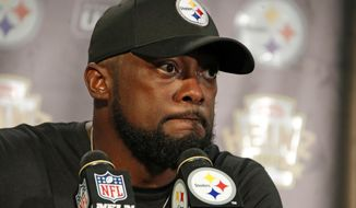 Pittsburgh Steelers head coach Mike Tomlin meets with reporters after an NFL football game against the Kansas City Chiefs in Pittsburgh, Sunday, Sept. 16, 2018. The Chiefs won 42-37. (AP Photo/Gene J. Puskar)