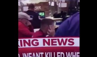 A member of the U.S. Coast Guard has been removed from the Tropical Storm Florence response team in South Carolina after he flashed an alleged white power hand signal during a live MSNBC report. (Twitter/@Kelsey Hupp)