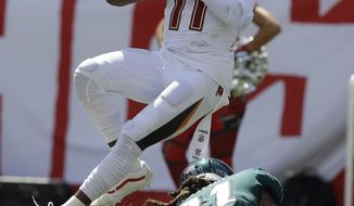 Tampa Bay Buccaneers wide receiver DeSean Jackson (11) grabs a pass over Philadelphia Eagles cornerback Ronald Darby (21), during the second half of an NFL football game, Sunday, Sept. 16, 2018, in Tampa, Fla. (AP Photo/Chris O'Meara)
