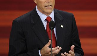 FILE - In this Sept. 3, 2008, file photo, Chris Collins, of Buffalo, N.Y., speaks at the Republican National Convention in St. Paul, Minn. Collins will remain on the November ballot despite previously suspending his campaign amid an insider trading indictment. (AP Photo/Ron Edmonds, File)