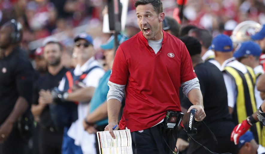 San Francisco 49ers head coach Kyle Shanahan yells on the sideline during the second half of an NFL football game against the Detroit Lions in Santa Clara, Calif., Sunday, Sept. 16, 2018. (AP Photo/Tony Avelar)