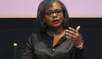FILE - In this Dec. 8, 2017, file photo, Anita Hill speaks at a discussion about sexual harassment in Beverly Hills, Calif. The sexual assault allegations against Supreme Court nominee Brett Kavanaugh recall Hill's accusations against Clarence Thomas in 1991, but there are important differences as well as cautions for senators considering how to deal with the allegations. (Photo by Willy Sanjuan/Invision/AP, File)