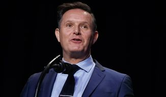 In this Feb. 2, 2017, file photo, television producer Mark Burnett introduces President Donald Trump during the National Prayer Breakfast in Washington. (AP Photo/Evan Vucci, File)