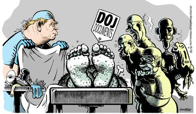 Dr. Trump declassifies the body (Illustration by Alexander Hunter for The Washington Times)