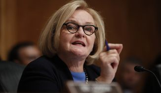 Sen. Claire McCaskill, D-Mo., speaks during a hearing on Capitol Hill in Washington, Tuesday, Sept. 18, 2018. (AP Photo/Pablo Martinez Monsivais)