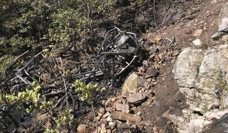 This photo provided by the Coconino County Sheriff's Office, posted Monday, Sept. 17, 2018, shows the burned wreckage of an ATV, found at the bottom of a 400-foot cliff, in the Coconino National Forest in northern Arizona. Authorities say the bodies of four men killed in the fiery crash have been recovered. Coconino County Sheriff's officials say a 10-acre fire and rugged terrain made it difficult for rescuers in the Blue Ridge area to get to the site of Saturday's crash. (Coconino County Sheriff's Office via AP)