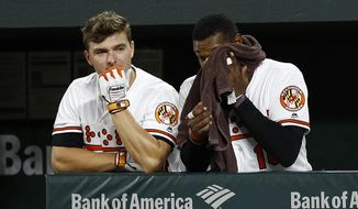 Baltimore Orioles' John Andreoli, left, and Adam Jones stand in the dugout in the ninth inning of a baseball game against the Toronto Blue Jays, Tuesday, Sept. 18, 2018, in Baltimore. Toronto won 6-4. (AP Photo/Patrick Semansky)