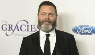 """FILE - In this May 22, 2018 file photo, Nick Offerman arrives at the 43rd annual Gracie Awards in Beverly Hills, Calif. Offerman will narrate """"Twain's Feast,"""" a look at Twain's life through the food he loved. The producer and distributor Audible Inc. announced Tuesday that the book comes out Nov. 2. (Photo by Richard Shotwell/Invision/AP, File)"""