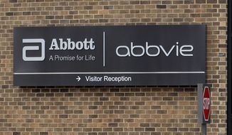 FILE - This Jan. 24, 2015, file photo, shows the exterior of AbbVie, in Lake Bluff, Ill. California has filed a lawsuit accusing pharmaceutical giant AbbVie of illegally plying doctors with cash, gifts and services to prescribe Humira, one of the world's biggest selling drugs. The suit filed on Tuesday, Sept. 18, 2018, says the kickbacks led doctors to write unneeded prescriptions for Humira despite its potentially deadly side effects. (AP Photo/Nam Y. Huh, File)