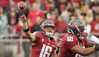 Washington State quarterback Gardner Minshew II (16) throws a pass during the first half of an NCAA college football game against Eastern Washington in Pullman, Wash., Saturday, Sept. 15, 2018. (AP Photo/Young Kwak)