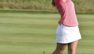 In this September 2017, photo provided by Iowa State University, golfer Celia Barquin Arozamena plays in the 2017 East and West Match Play tournament in Verona, Wis. The former ISU golfer was found dead Monday, Sept. 17, 2018, at a golf course in Ames, Iowa.  Collin Daniel Richards, was arrested and charged with first-degree murder in her death. (Barb Malchow/Iowa State University via AP)