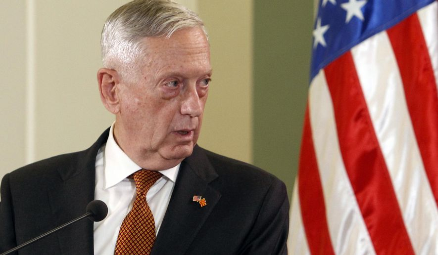 U.S. Defense Secretary James Mattis talks to the media in the presence of Macedonian Prime Minister Zoran Zaev following their meeting at the government building in Skopje, Macedonia, Monday, Sept. 17, 2018. Mattis arrived in Macedonia Monday, condemning Russian efforts to use its money and influence to build opposition to an upcoming vote that could pave the way for the country to join NATO, a move Moscow opposes. (AP Photo/Boris Grdanoski)