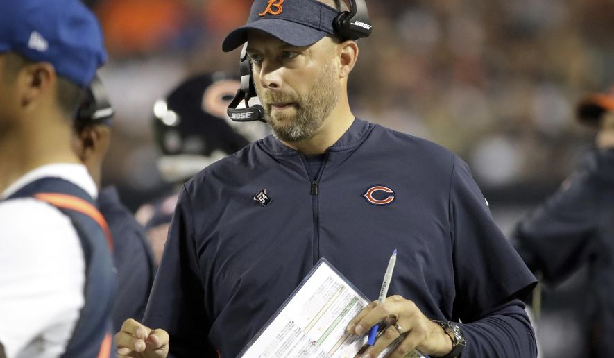 Chicago Bears head coach Matt Nagy watches from the sideline during the first half of an NFL football game against the Seattle Seahawks Monday, Sept. 17, 2018, in Chicago. (AP Photo/Nam Y. Huh)