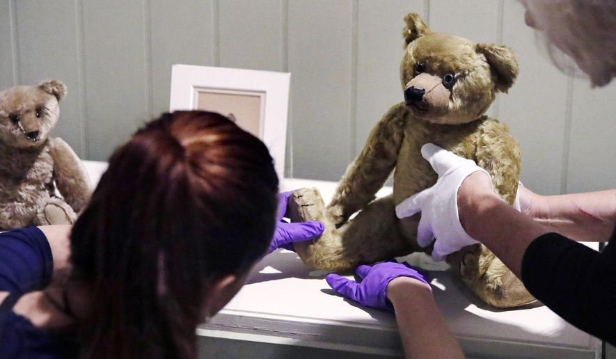 """In this Thursday, Sept. 13, 2018 photo, gallery stylists position antique Winnie the Pooh bears while preparing the """"Winnie-the-Pooh: Exploring a Classic"""" exhibit at the Museum of Fine Arts in Boston. The show opening Saturday, Sept. 22, comprises nearly 200 original drawings, letters, photographs and early editions. (AP Photo/Charles Krupa)"""