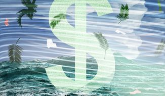 Illustration on the financial impact of hurricanes by Alexander Hunter/The Washington Times