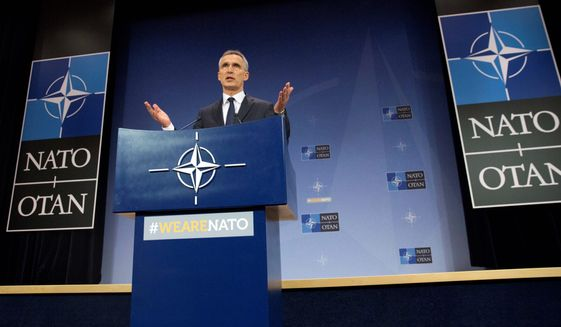 """Jens Stoltenberg is secretary general of NATO, whose Strategic Communications Center of Excellence has released a report highlighting the growing use of """"fake news"""" in the era of """"post-truth"""" politics. (Associated Press/File)"""