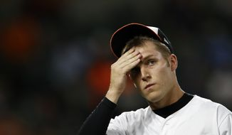 Baltimore Orioles relief pitcher Paul Fry walks off the field after the seventh inning of a baseball game against the Toronto Blue Jays, Tuesday, Sept. 18, 2018, in Baltimore. Toronto scored four runs against Fry in the seventh. (AP Photo/Patrick Semansky) ** FILE **