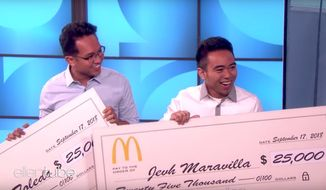 "Christian Toledo (left) and Jehv Maravilla appear on ""The Ellen DeGeneres Show"" to discuss a prank they pulled on a Texas McDonald's, September 17, 2018. (Image: YouTube, ""TheEllenShow"" screenshot)"