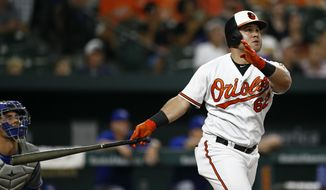 Baltimore Orioles' DJ Stewart watches his solo home run during the third inning of the team's baseball game against the Toronto Blue Jays, Wednesday, Sept. 19, 2018, in Baltimore. (AP Photo/Patrick Semansky)