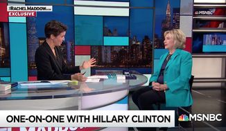 Hillary Clinton stressed the importance of due process after MSNBC host Rachel Maddow compared the sexual assault allegation against Supreme Court nominee Brett Kavanaugh to the multiple allegations former President Bill Clinton faced while in office. (MSNBC)