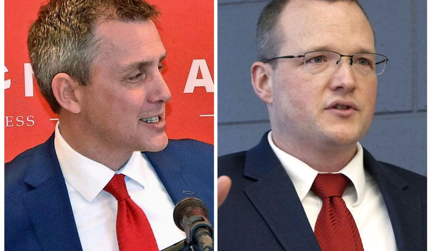 FILE - This combination of file photos shows candidates for the U.S. House from North Dakota, Republican state Sen. Kelly Armstrong, left, and Democrat Mac Schneider. The two face off in a debate Wednesday, Sept. 19, 2018, in Fargo. (Bismarck Tribune via AP, File)