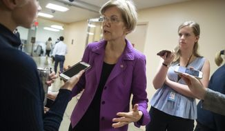 Sen. Elizabeth Warren, D-Mass., responds to reporters' questions on Supreme Court nominee Brett Kavanaugh amid scrutiny of a woman's claim he sexually assaulted her at a party when they were in high school, on Capitol Hill in Washington, Tuesday, Sept. 18, 2018. (AP Photo/J. Scott Applewhite)
