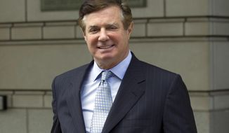 FILE - In this May 23, 2018, file photo, Paul Manafort, President Donald Trump's former campaign chairman, leaves the Federal District Court after a hearing, in Washington. (AP Photo/Jose Luis Magana, File)