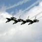 US Air Force Thunderbirds F16 jets perform as they arrive in the Air Force base of Graf Ignatievo, Bulgaria, east of the capital Sofia, Friday, June, 29, 2007. The Thunderbirds the world-renowned Air Demonstration Unit of the United States Air Force are coming to Bulgaria as part of the Bulgarian - American Days of the Air Force, commemorating the the 95th anniversary of the Bulgarian Air Force and the 60th anniversary of the U.S. Air Force and will perform an air-show at Graf Ignatievo on July, 1. Graf Ignatievo is one of two airbases which will be used by US Air Forces in Bulgaria.(AP Photo/Petar Petrov)