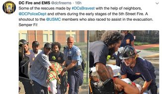 U.S Marines rushed to aide firefighters in Washington, D.C., on September 19, 2018. The Marines helped to evacuate elderly men and women from a burning building. (Image: Twitter, DC Fire and EMS)