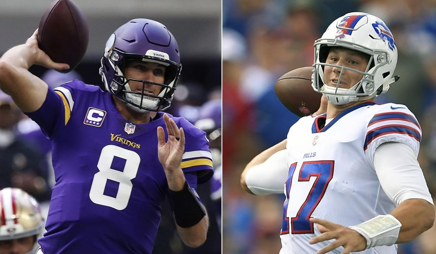 FILE - At left, in a Sept. 9, 2018, file photo, Minnesota Vikings quarterback Kirk Cousins throws a pass during the first half of an NFL football game against the San Francisco 49ers,  in Minneapolis. At right, in a Sept. 16, 2018, file photo, Buffalo Bills quarterback Josh Allen looks to throw during the first half of an NFL football game against the Los Angeles Chargers, in Orchard Park, N.Y.  Cousins showed why the Vikings gave him that big contract with his performance on the road against the rival Packers last week. Allen looked a lot like a rookie for the Bills in his first career start, at home against the Chargers. The quarterbacks in the Buffalo-Minnesota game are in much different places. (AP Photo/File)