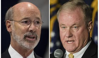This combination of October 2017 photos shows Pennsylvania gubernatorial candidates Democrat Gov. Tom Wolf, left, and Republican Scott Wagner. In several states, candidates are refusing to release their tax returns. That's true even in states with a long tradition of candidates releasing their tax information. In Pennsylvania, Wagner, the Republican challenger who has made millions from his trash-hauling business is refusing to release his returns. The incumbent, Democratic Wolf, has released his in what he said was a nod to transparency. (AP Photo/Matt Rourke)